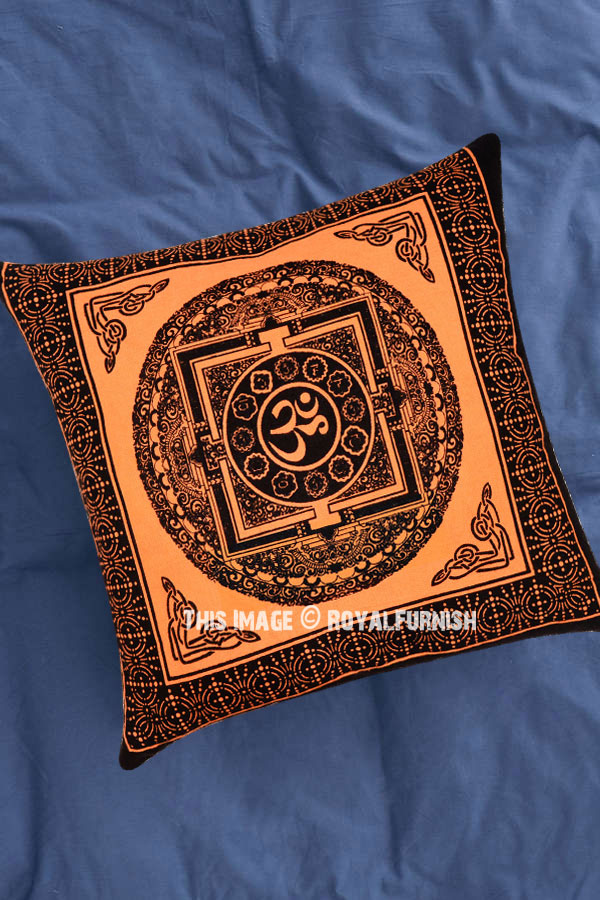Orange Tibetan Aum Printed Tie Dye Throw Pillow Cover