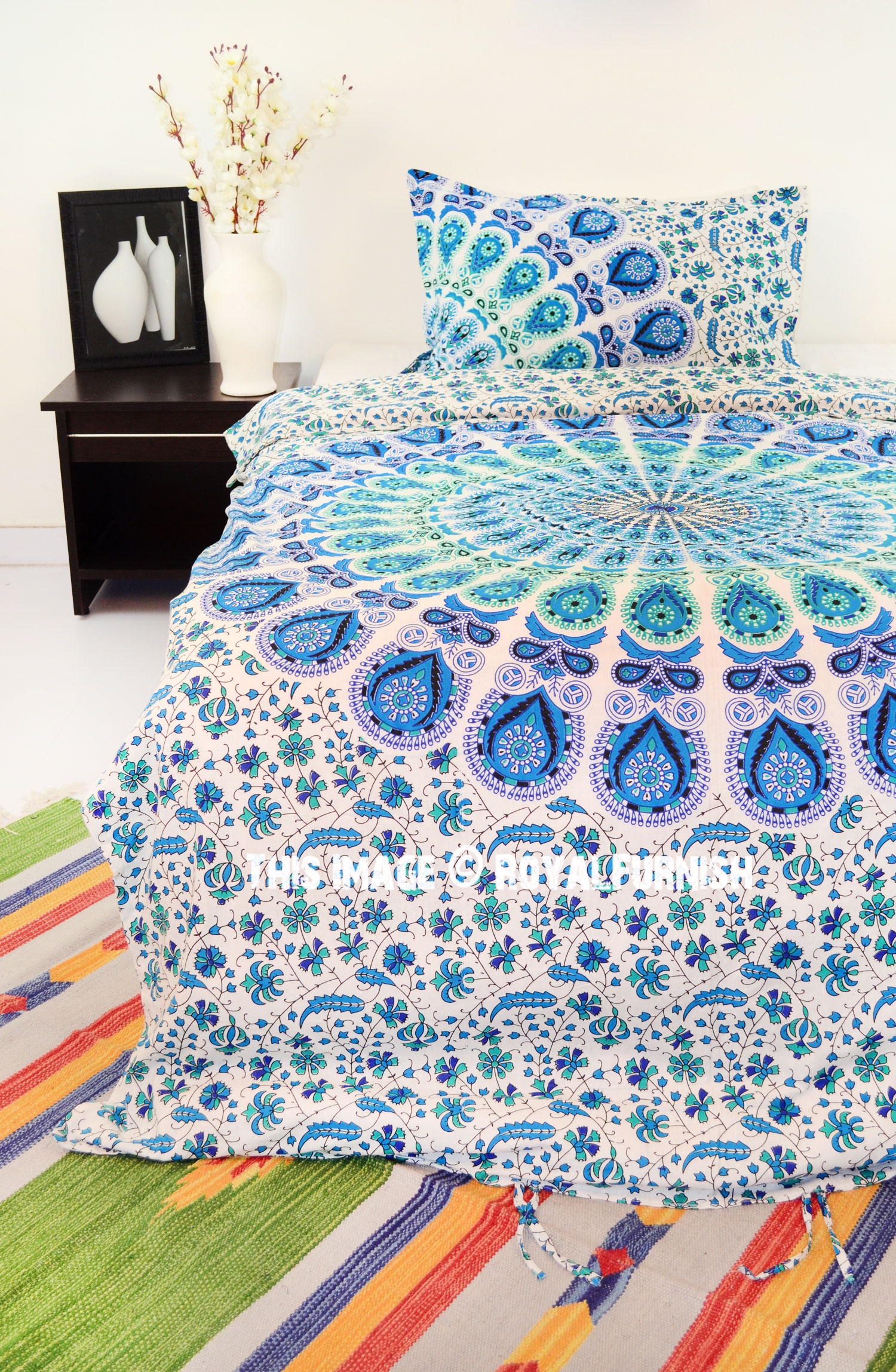 Blue Amp White Peacock Mandala Boho Duvet Cover Set With One