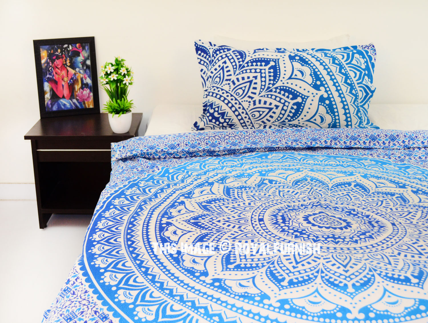 twin blue white flower ombre boho chic mandala bedding duvet set with one pillow case. Black Bedroom Furniture Sets. Home Design Ideas