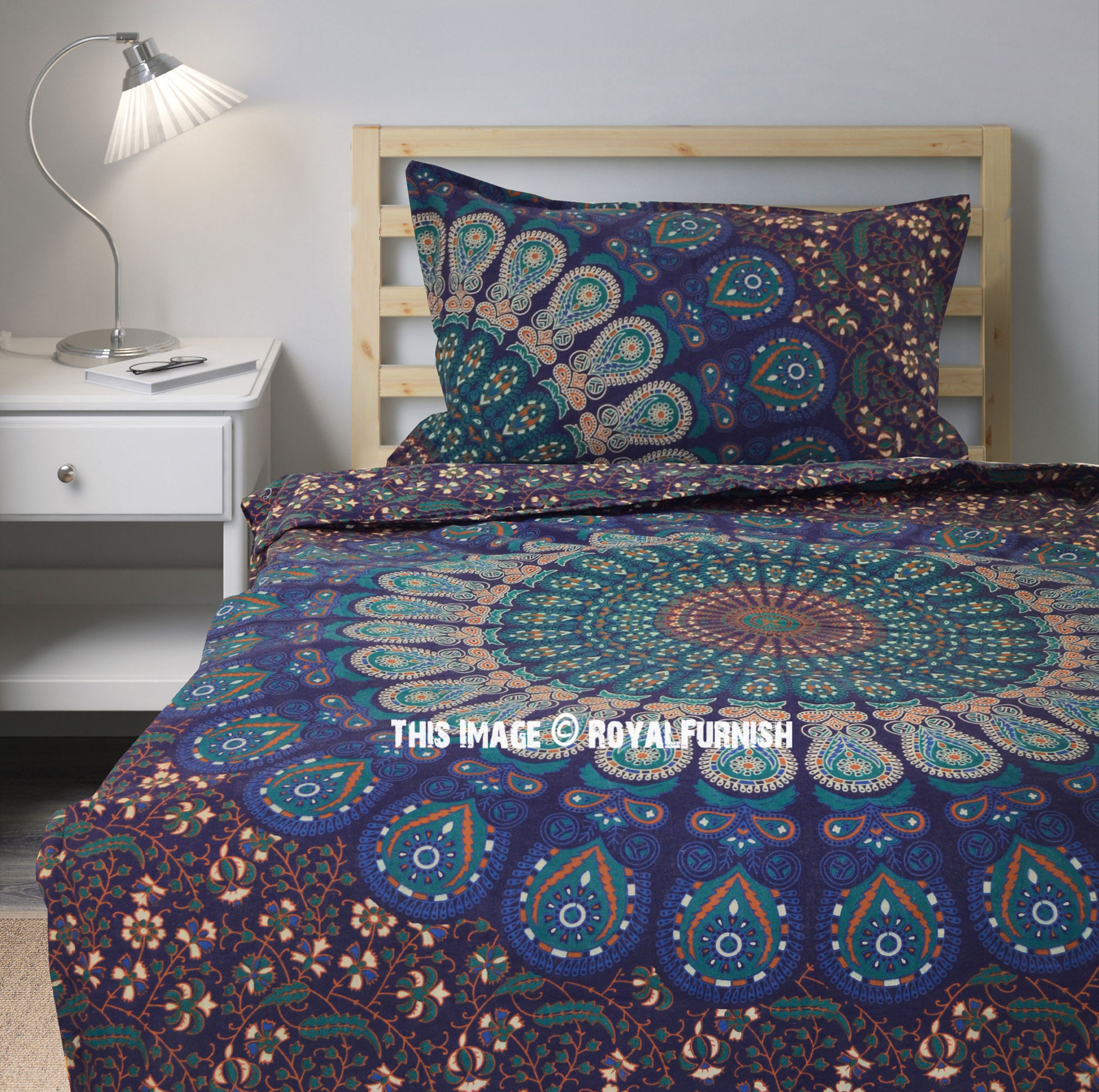 boho blue twin size peafowl mandala bedding duvet set with one pillow cover. Black Bedroom Furniture Sets. Home Design Ideas