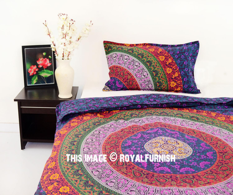 Purple Multi Boho Bedding Mandala Duvet Cover Set With One