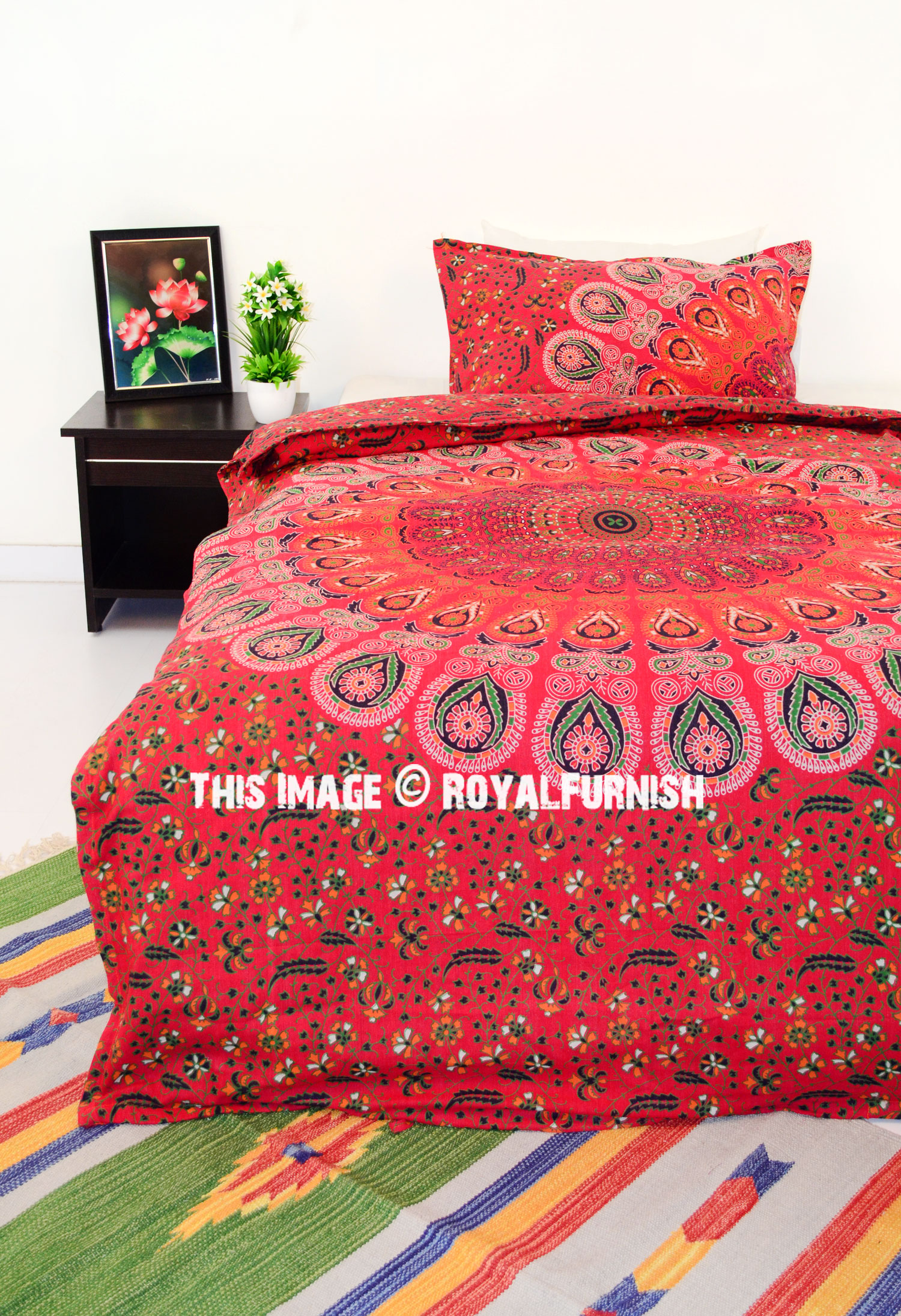 twin red peafowl boho bedding mandala duvet cover set with one pillow cover. Black Bedroom Furniture Sets. Home Design Ideas