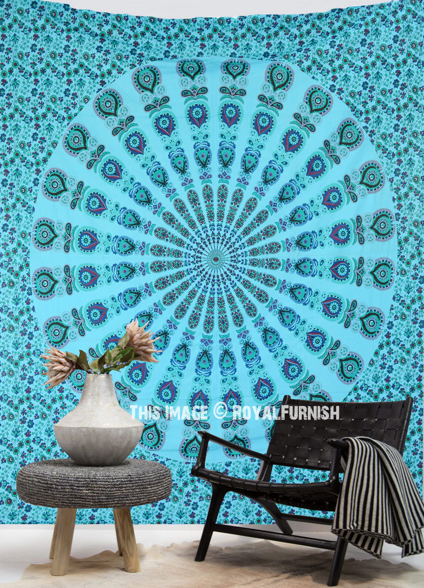 Turquoise Indra Sky Medallion Circle Wall Tapestry