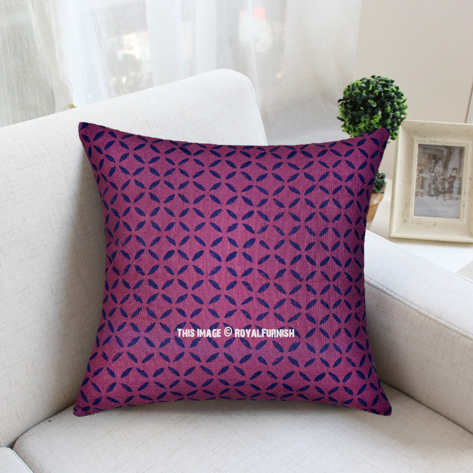 Purple Geometric Modern/Contemporary Canvas Throw Pillow Cover - RoyalFurnish.com