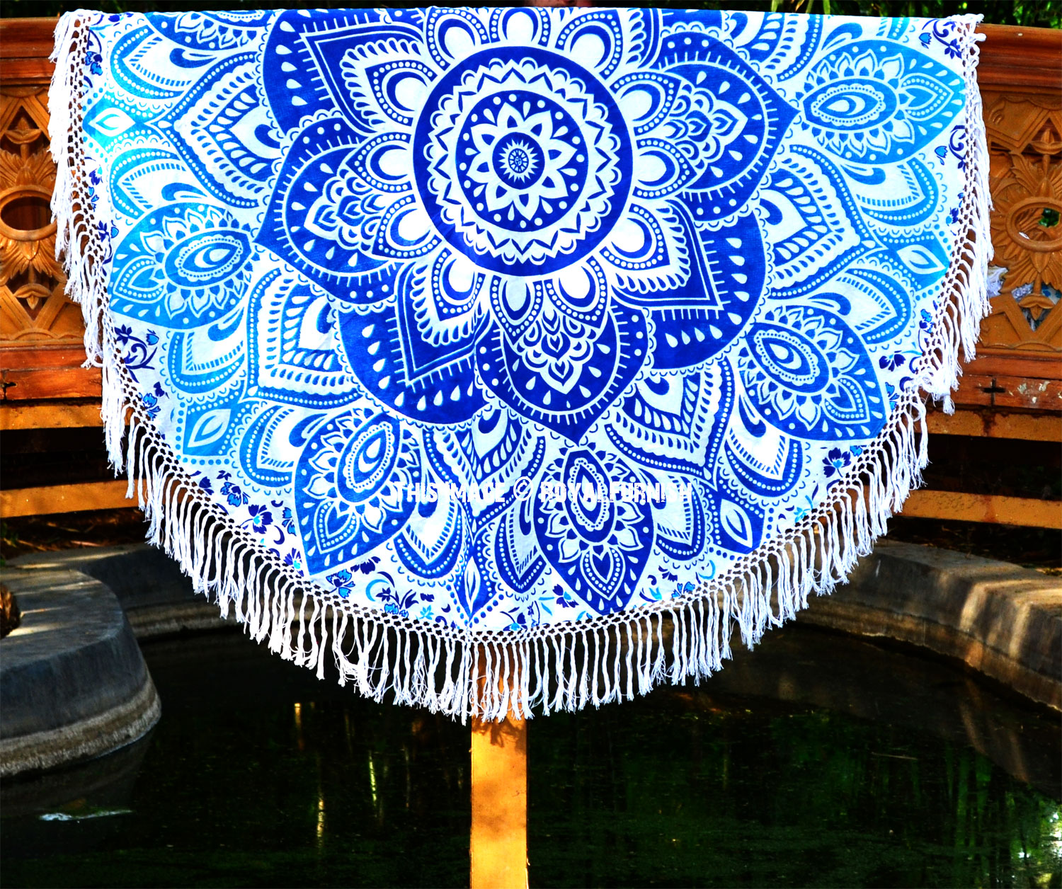 Blue Geometric Flower Ombre Mandala Beach Roundie Towel