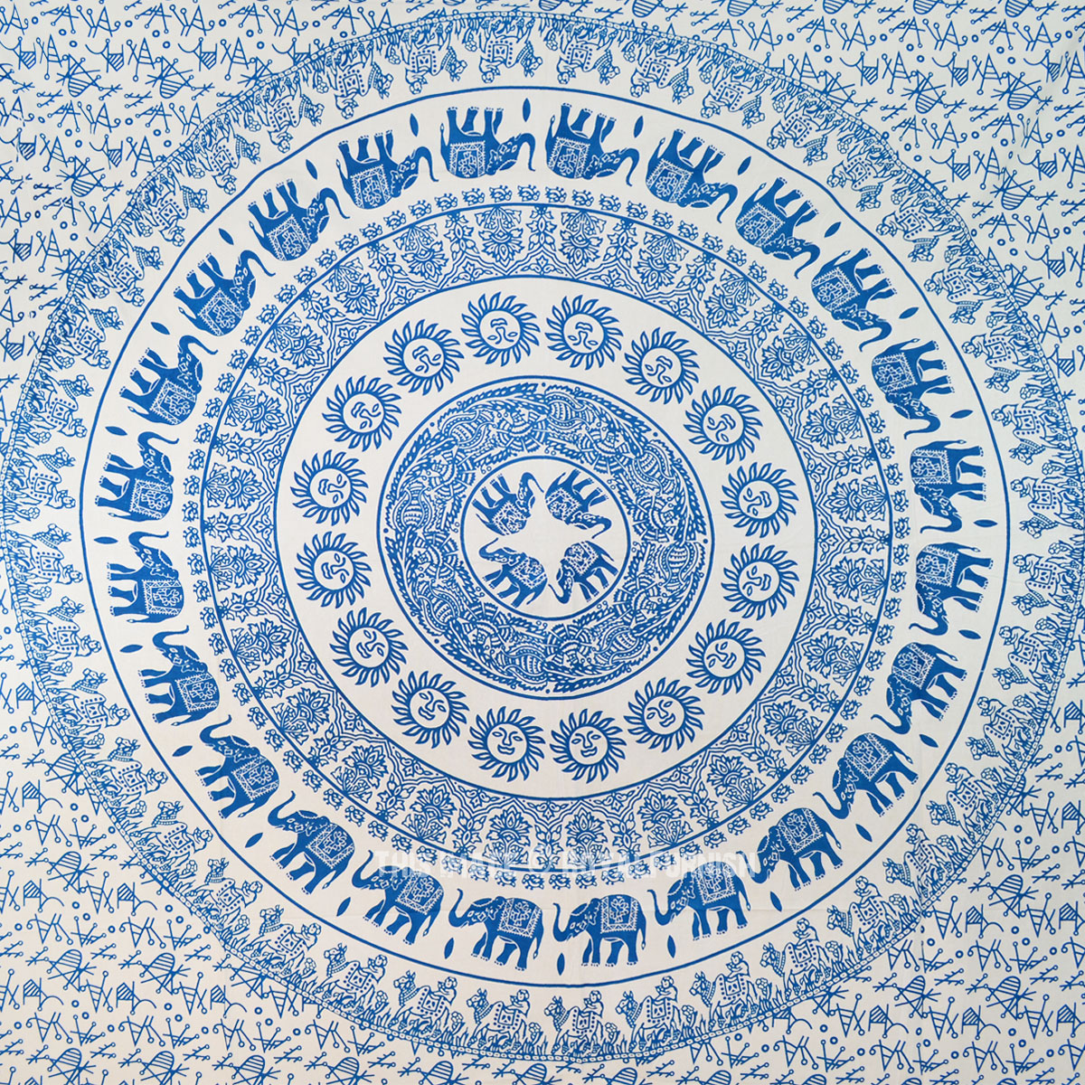 Teal Medallion Wall Decor : Teal elephant sun medallion tapestry fringed cotton