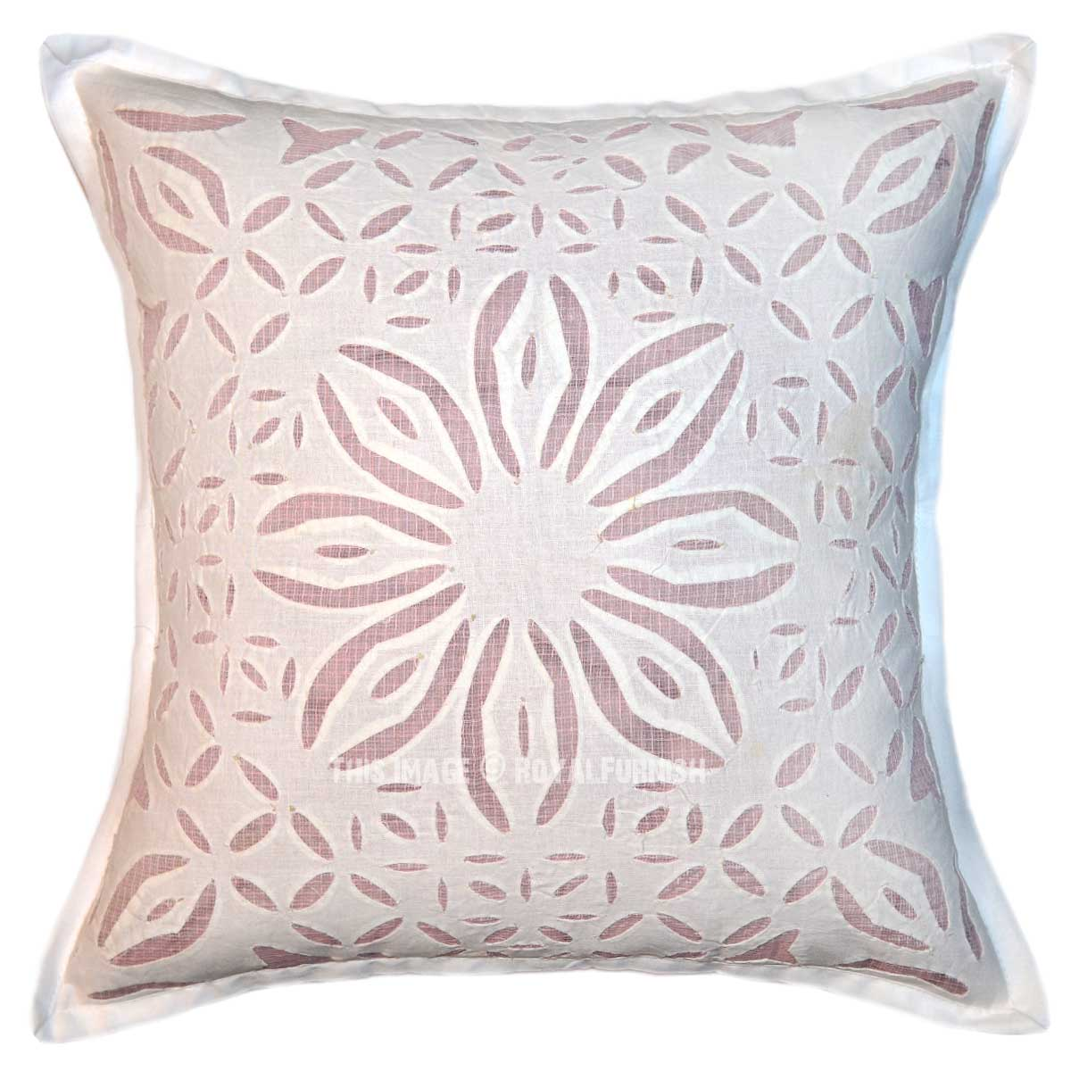 Large Square Decorative Pillow Covers : White Big Flower Hand Cutwork Designer Cotton Square Pillow Cover 16X16 - RoyalFurnish.com