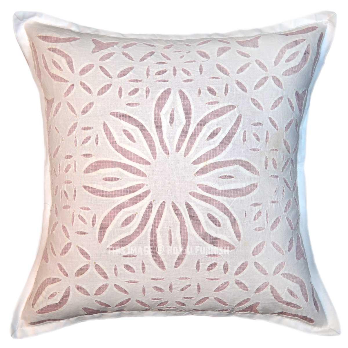 Big Square Decorative Pillows : White Big Flower Hand Cutwork Designer Cotton Square Pillow Cover 16X16 - RoyalFurnish.com