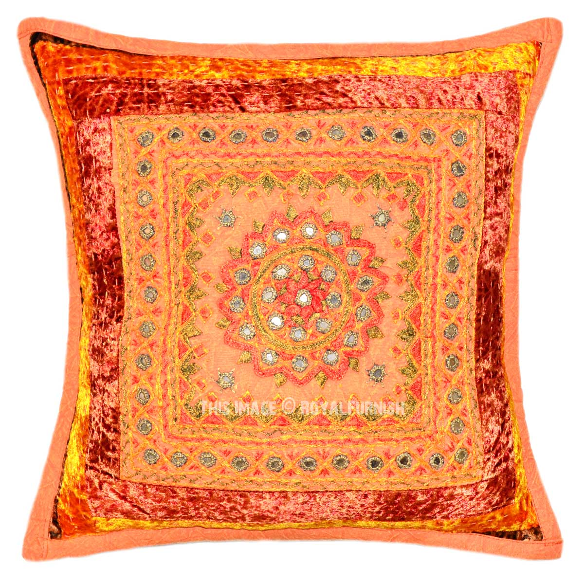 Decorative Pillows With Mirrors : Orange One-Of-A-Kind Unique Mirror Embroidered Square Toss Pillow Case 16X16 - RoyalFurnish.com