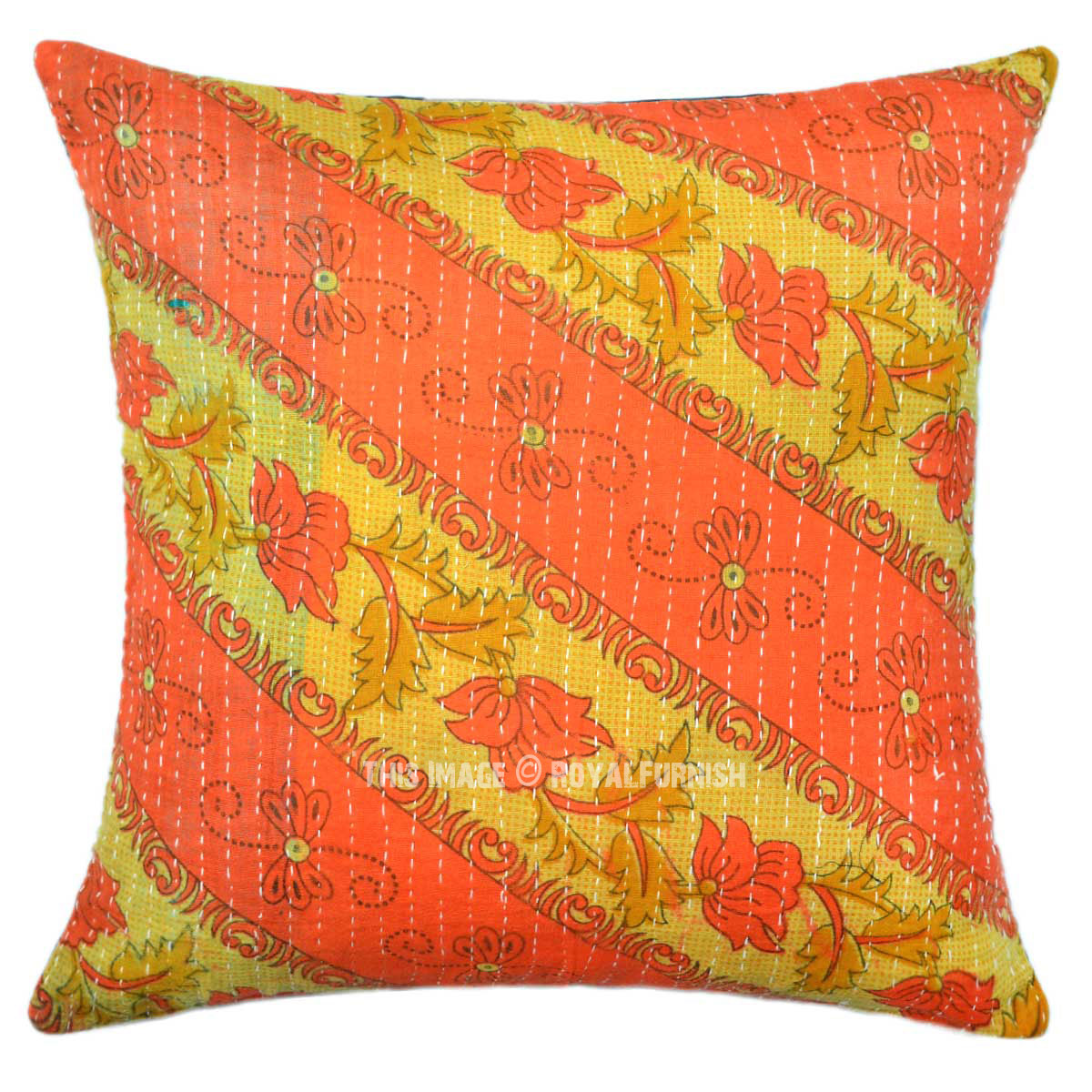 Vintage Decorative Pillow : Decorative 16X16 Vintage Kantha Throw Pillow Cover - RoyalFurnish.com
