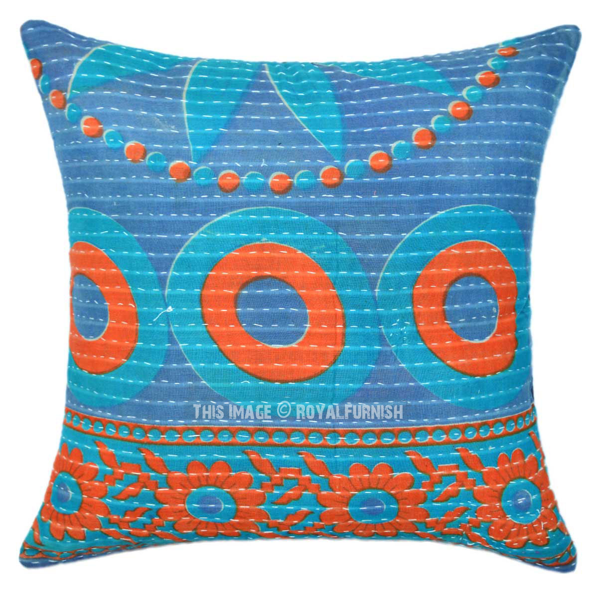 Colorful Bohemian Throw Pillows : Grey Colorful Medallion 16X16 Bohemian Accent Kantha Pillow Cover 16X16 - RoyalFurnish.com