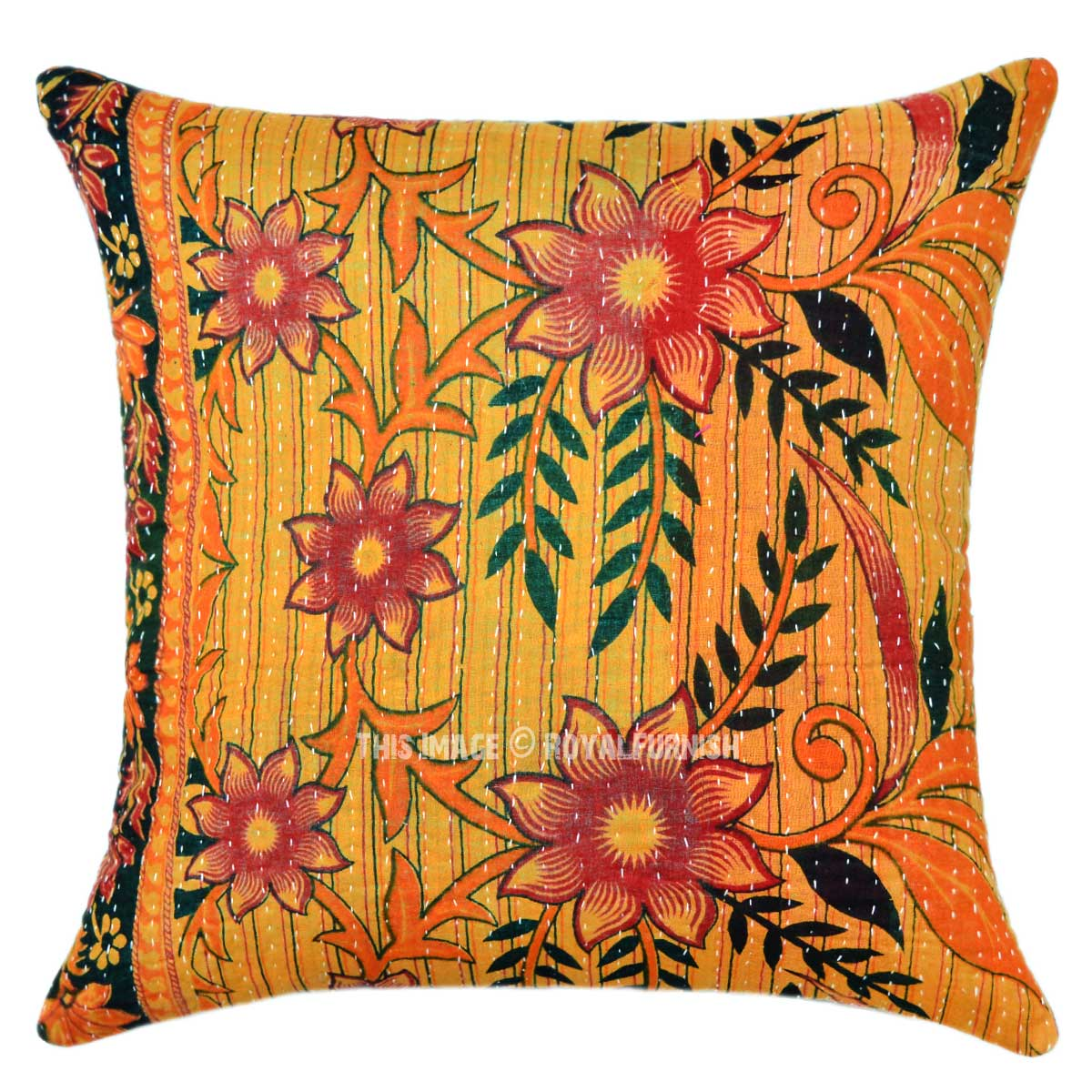 Orange Multi Flower Plant Decorative Vintage Kantha Throw Pillow Sham - RoyalFurnish.com