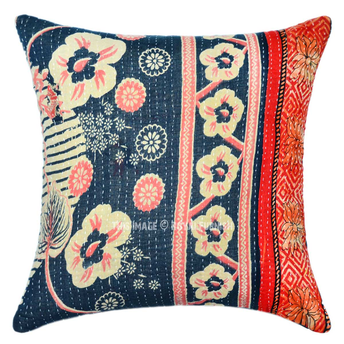 Modern Ring Pillows : Black Multi Flower Ring Unique Contemporary Kantha Pillow Case 16X16 - RoyalFurnish.com
