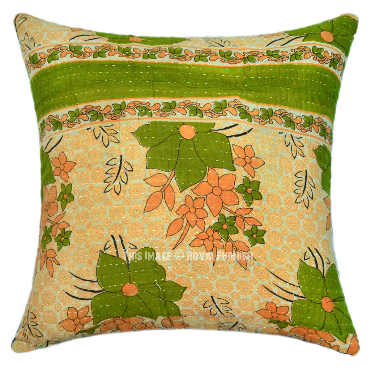 Green kolkatha old fabric cotton accent throw pillow case - Fabric for throw pillows ...