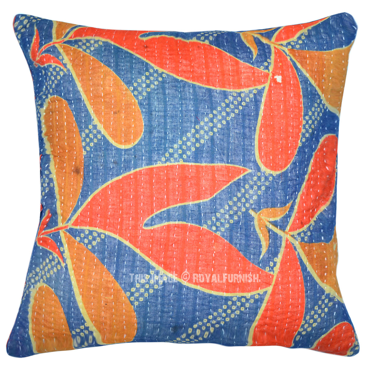 Colorful Decorative and Accent Long Leafs Kantha Pillow Case 16X16 - RoyalFurnish.com