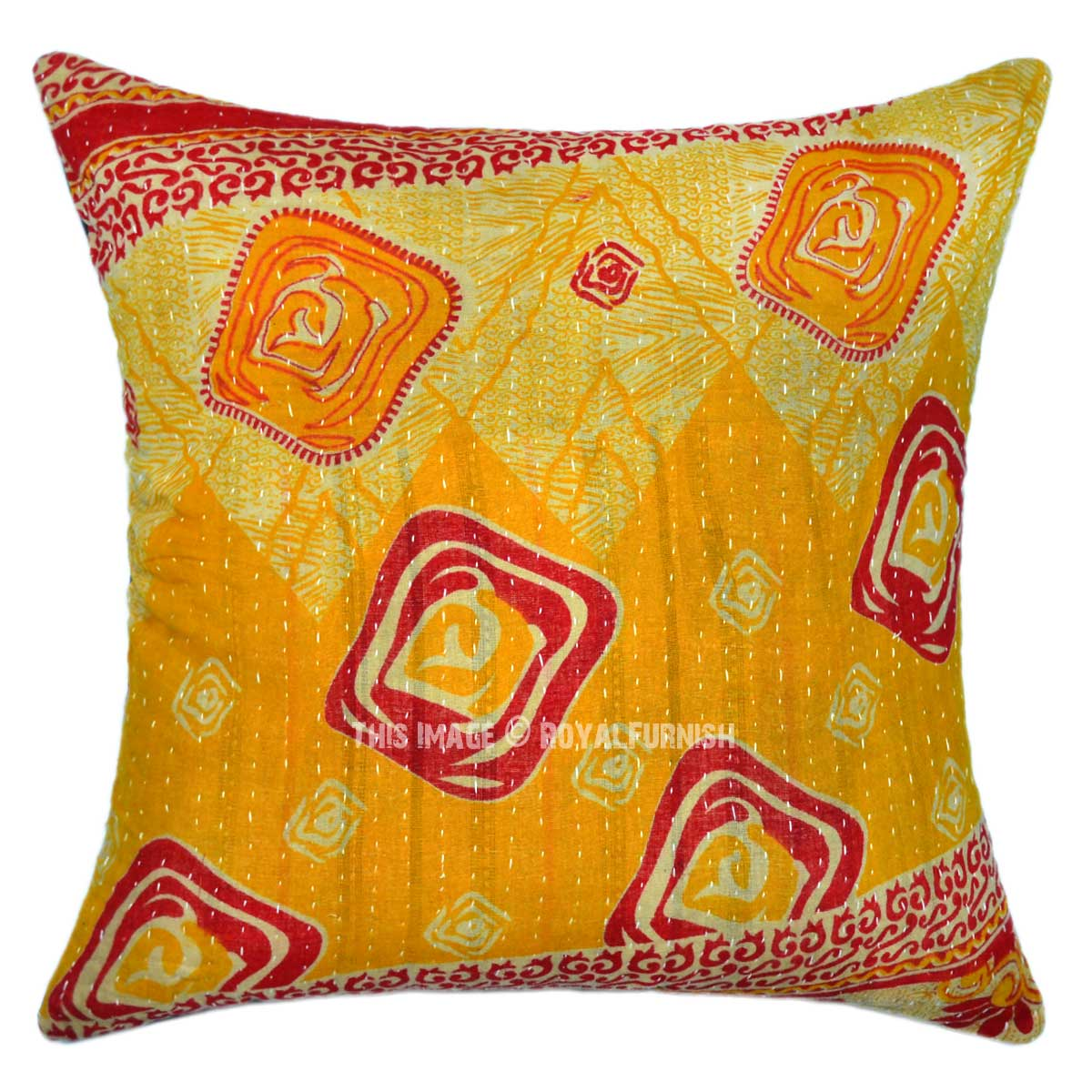 Throw Pillow Cover Fabric : Yellow Multi Abstract Old Fabric Vintage Kantha Throw Pillow Cover - RoyalFurnish.com