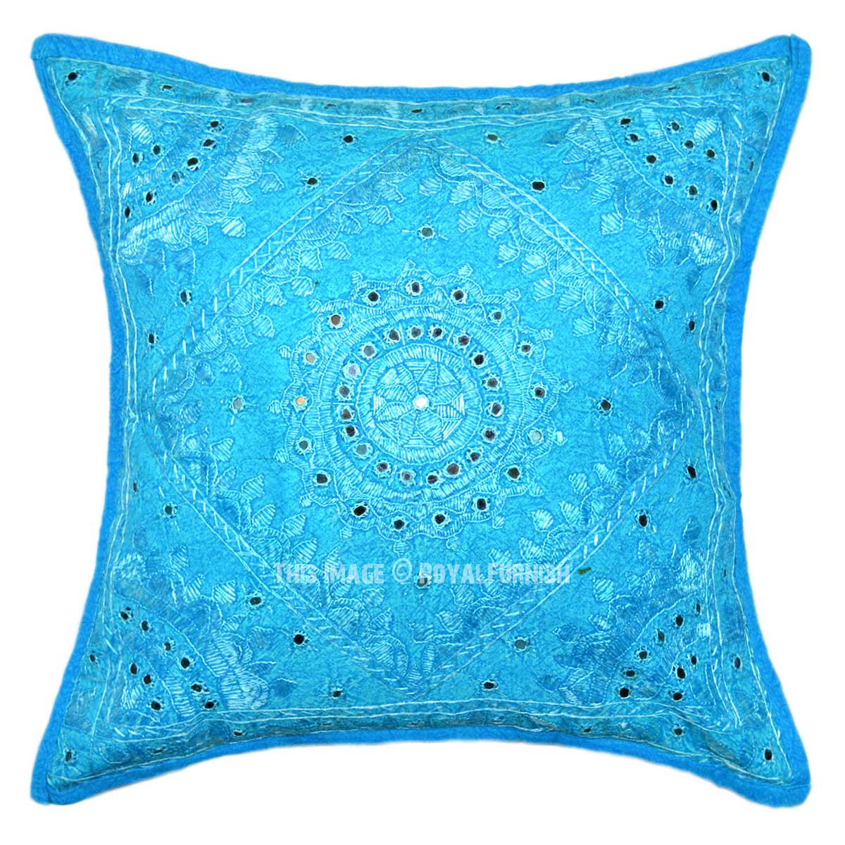 Decorative Turquoise Throw Pillows : 18X18 Turquoise Decorative Mirror Embroidered Work Cotton Throw Pillow Sham - RoyalFurnish.com