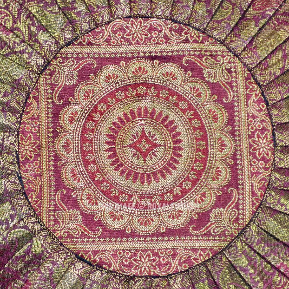 Brown Multi Floral Medallion Silk Brocade Round Pillow