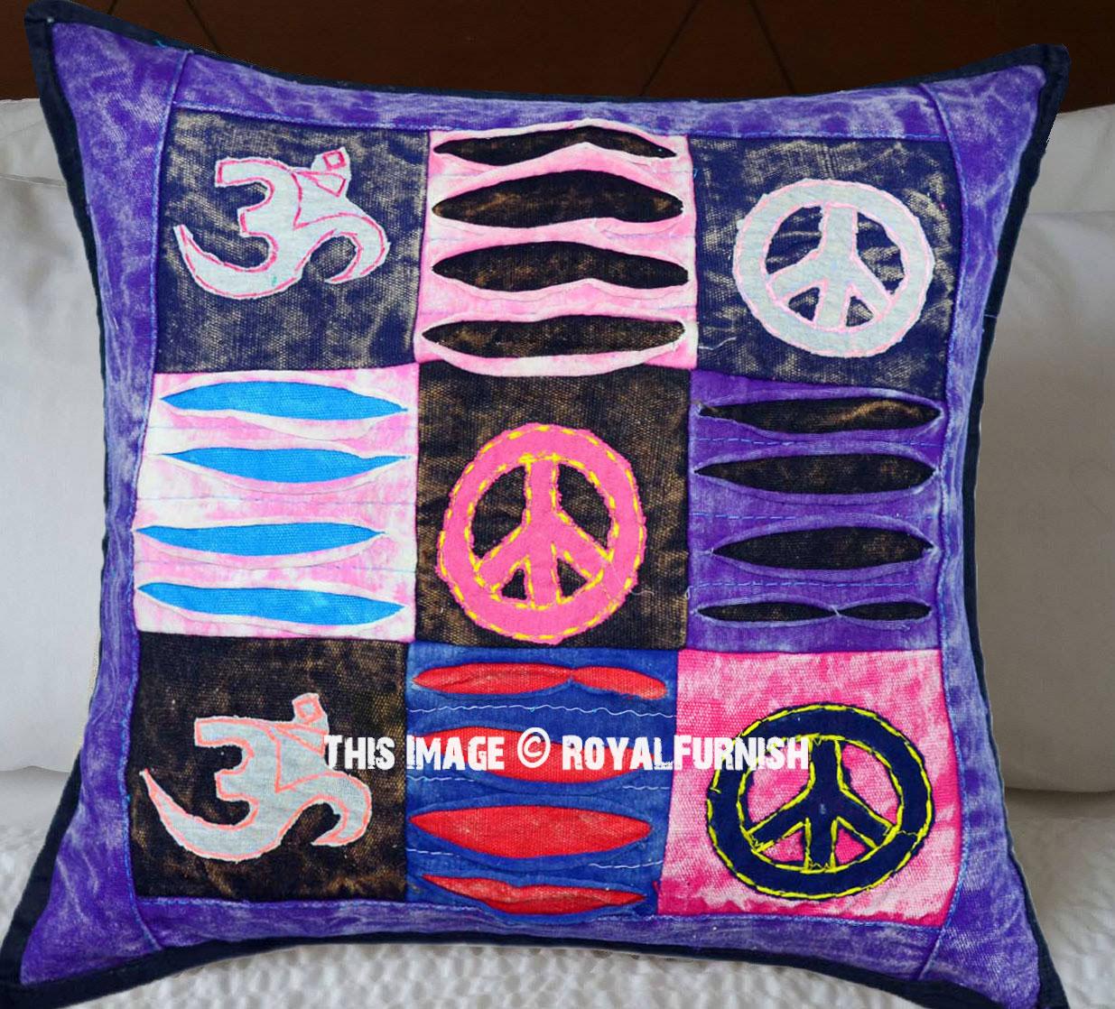 Purple Aum, Peace Symbols Unique One-Of-A-Kind Patchwork Pillow Cover - RoyalFurnish.com