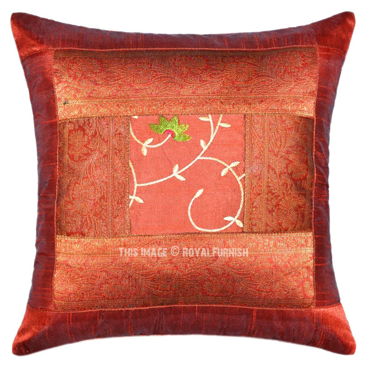 Unique Decorative Throw Pillows : Brown Unique Handcrafted Floral Silk Embroidered Decorative Pillow Cover 16X16 - RoyalFurnish.com