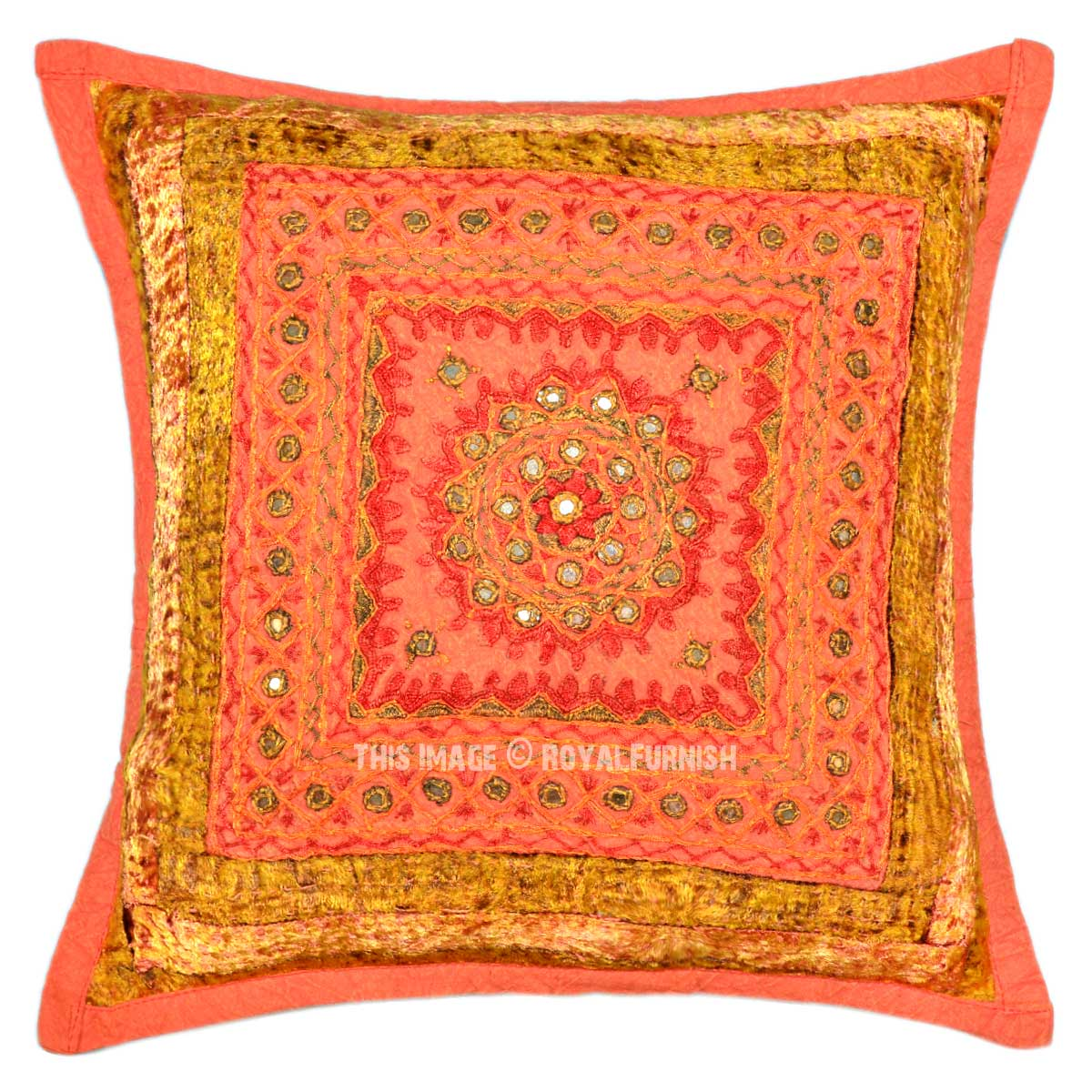 Unique Decorative Throw Pillows : Orange Multi Unique One-Of-A-Kind Handmade Decorative Mirror Pillow Case 16X16 - RoyalFurnish.com
