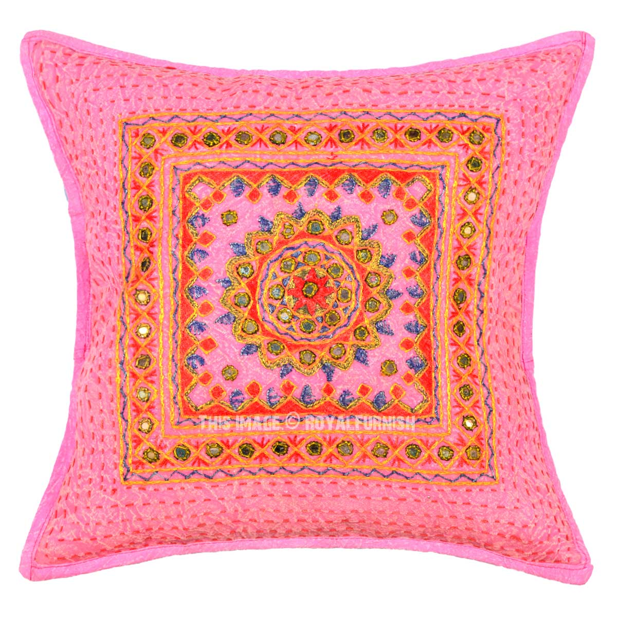 16x16 Decorative Pillow Covers : Pink Multi Kantha and Mirror Ethnic Work Decorative Throw Pillow Cover 16X16 - RoyalFurnish.com