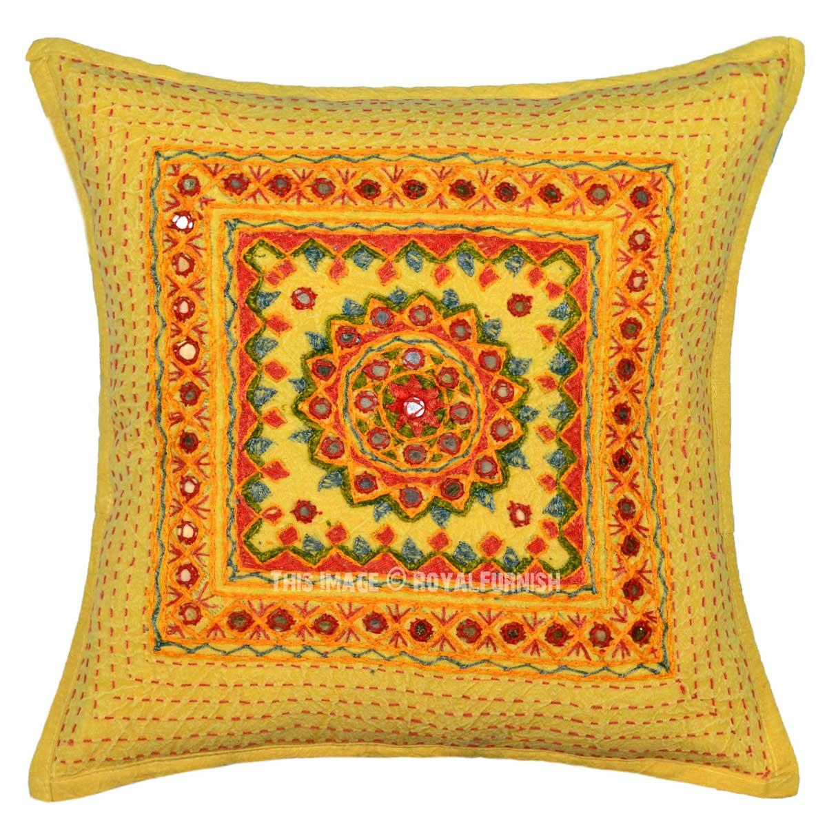 Yellow Decorative Throw Pillows : Yellow Mirror Medallion Circle 16X16 Decorative Throw Pillow Cover 16X16 - RoyalFurnish.com