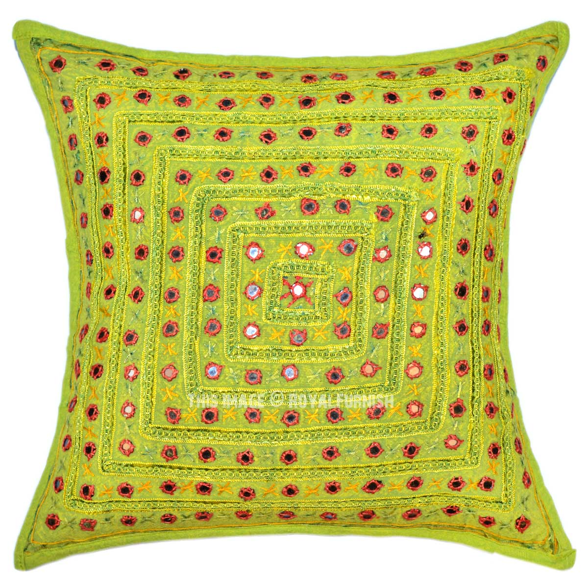 Handmade Unique Mirror Embroidered Green Boho Accent Throw Pillow Cover 16X16 - RoyalFurnish.com