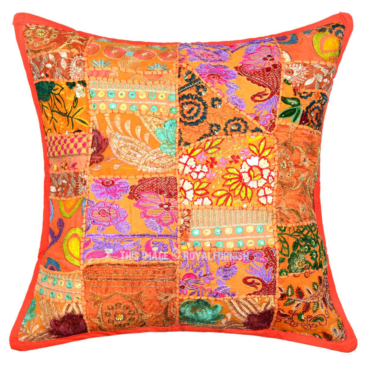 Orange multi old fabric patchwork bohemian accent square - Fabric for throw pillows ...