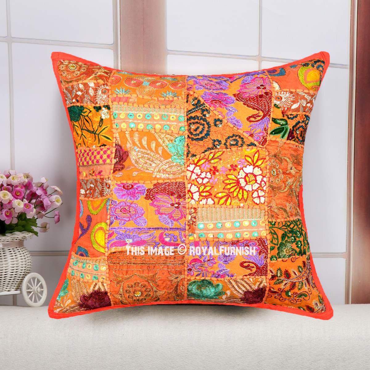 Orange Multi Old Fabric Patchwork Bohemian Accent Square