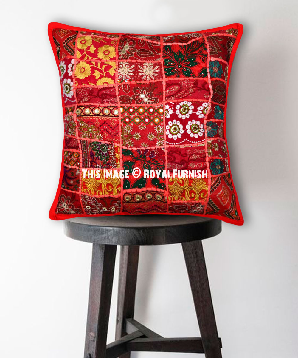 Red Decorative Old Cotton Patchwork Embroidered Decorative Pillow