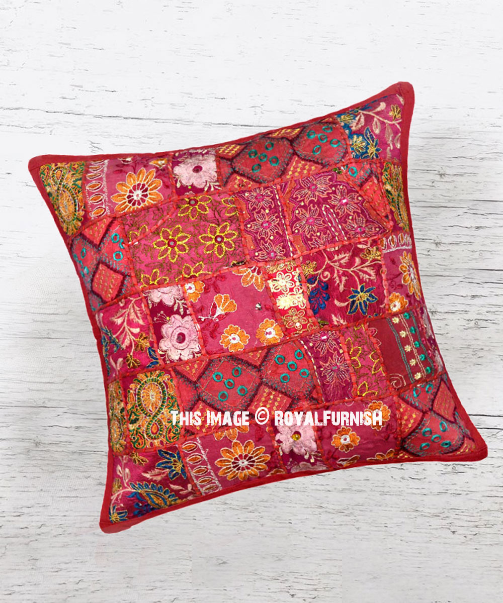 Unique One Of A Kind Burgundy Boho Accent Square Throw Pillow