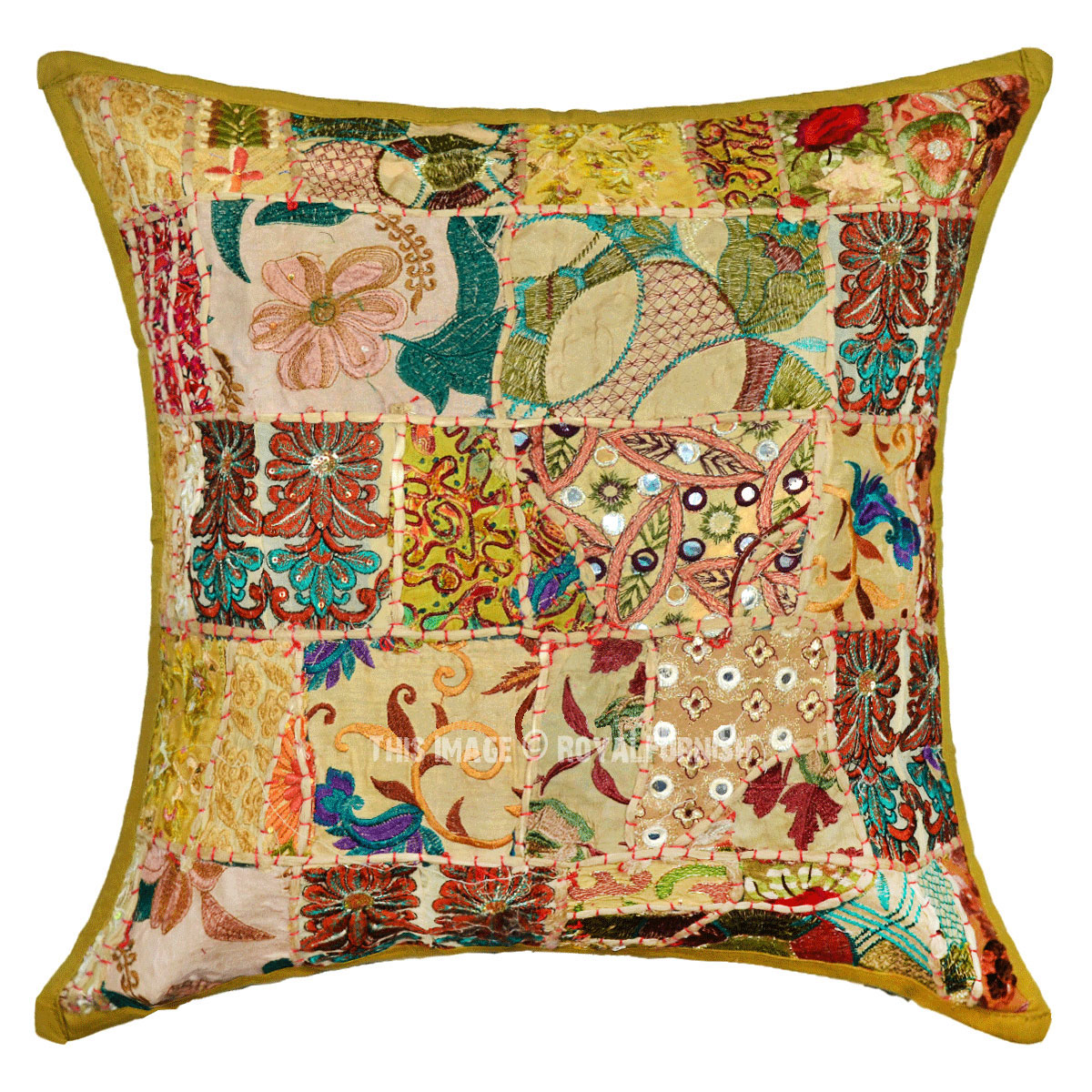 20 Square Throw Pillow Covers : 20X20 Green Handmade Boho Accent Square Throw Pillow Cover - RoyalFurnish.com