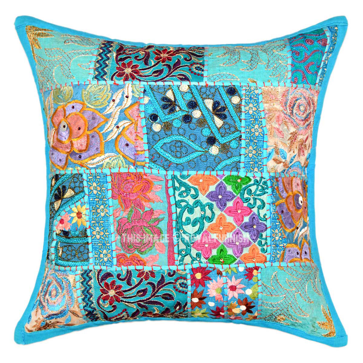 18X18 Turquoise Blue One-Of-A-Kind Boho Accent Throw Pillow Cover - RoyalFurnish.com