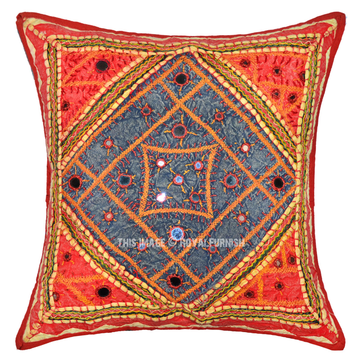 16X16 Red Multi Tribal Unique Hand Embroidered Cotton Throw Pillow Cover - RoyalFurnish.com