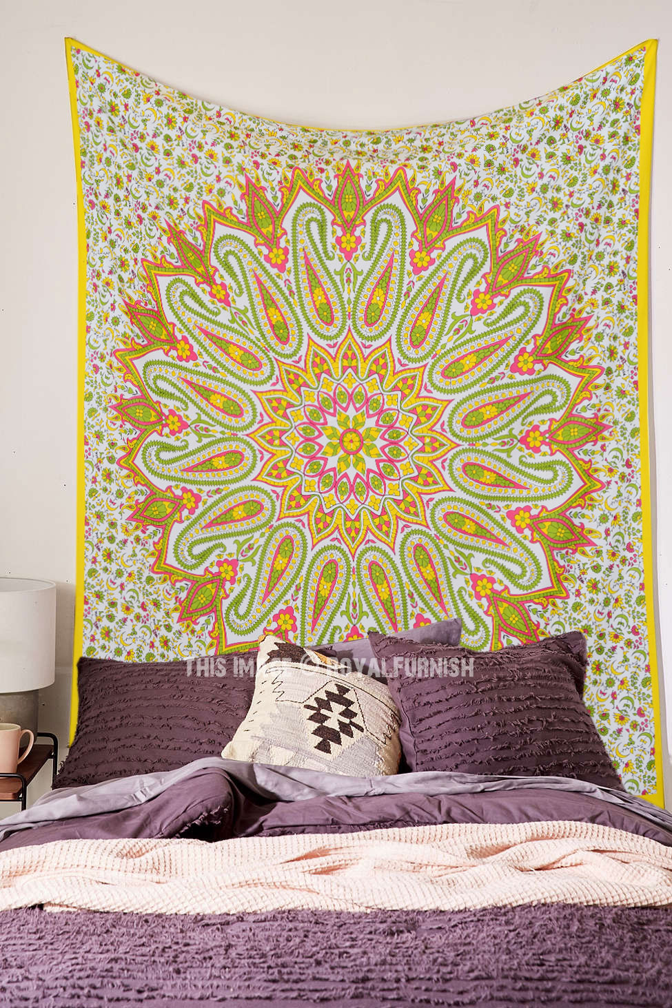 Yellow Paisley Flowers Medallion Circle Cotton Tapestry