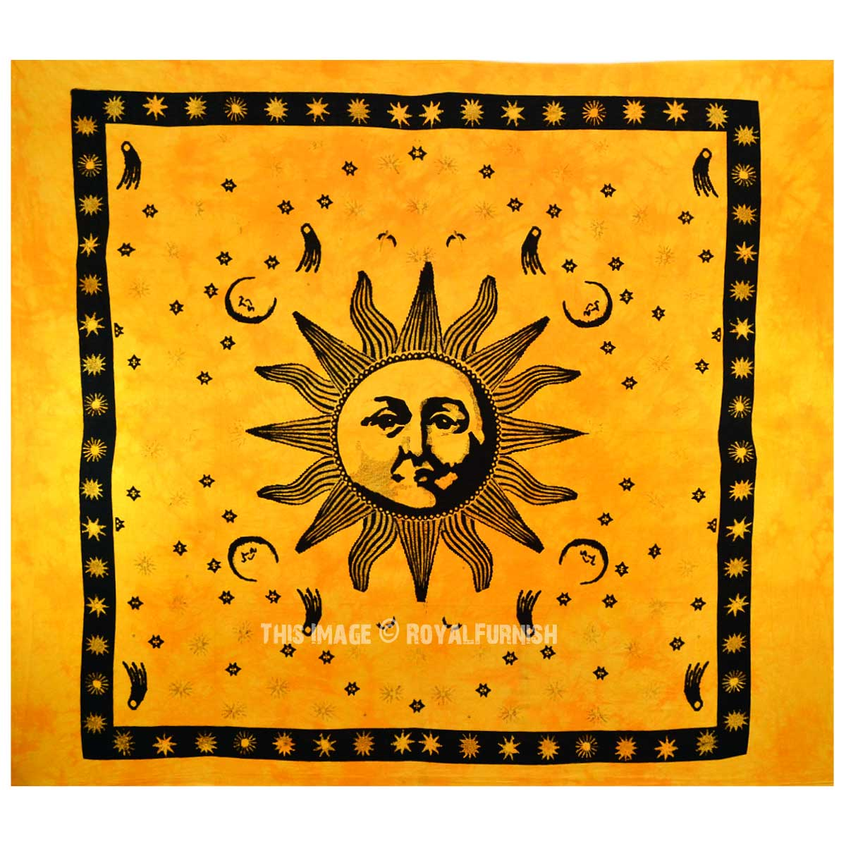Yellow Celestial Sun Moon Fringed Wall Tapestry