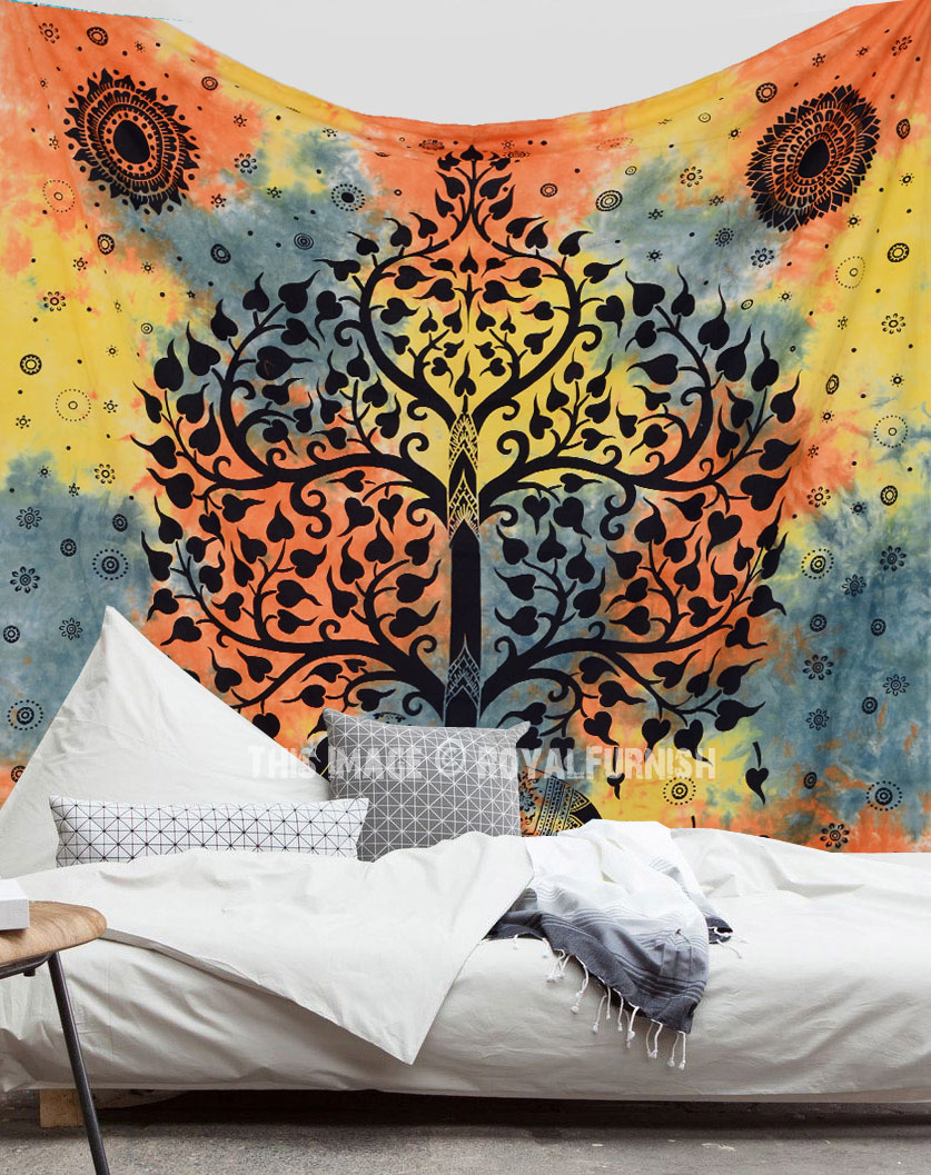 Hippie Elephant Tree Tapestry Wall Hanging Tie Dye Sheet
