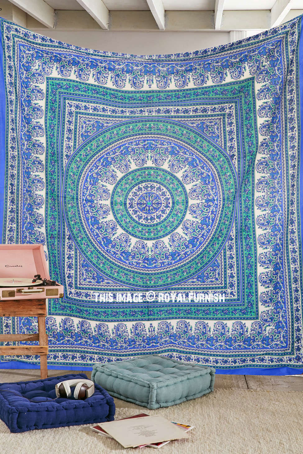 Large Blue Paisley Floral Medallion Circle Cotton Tapestry