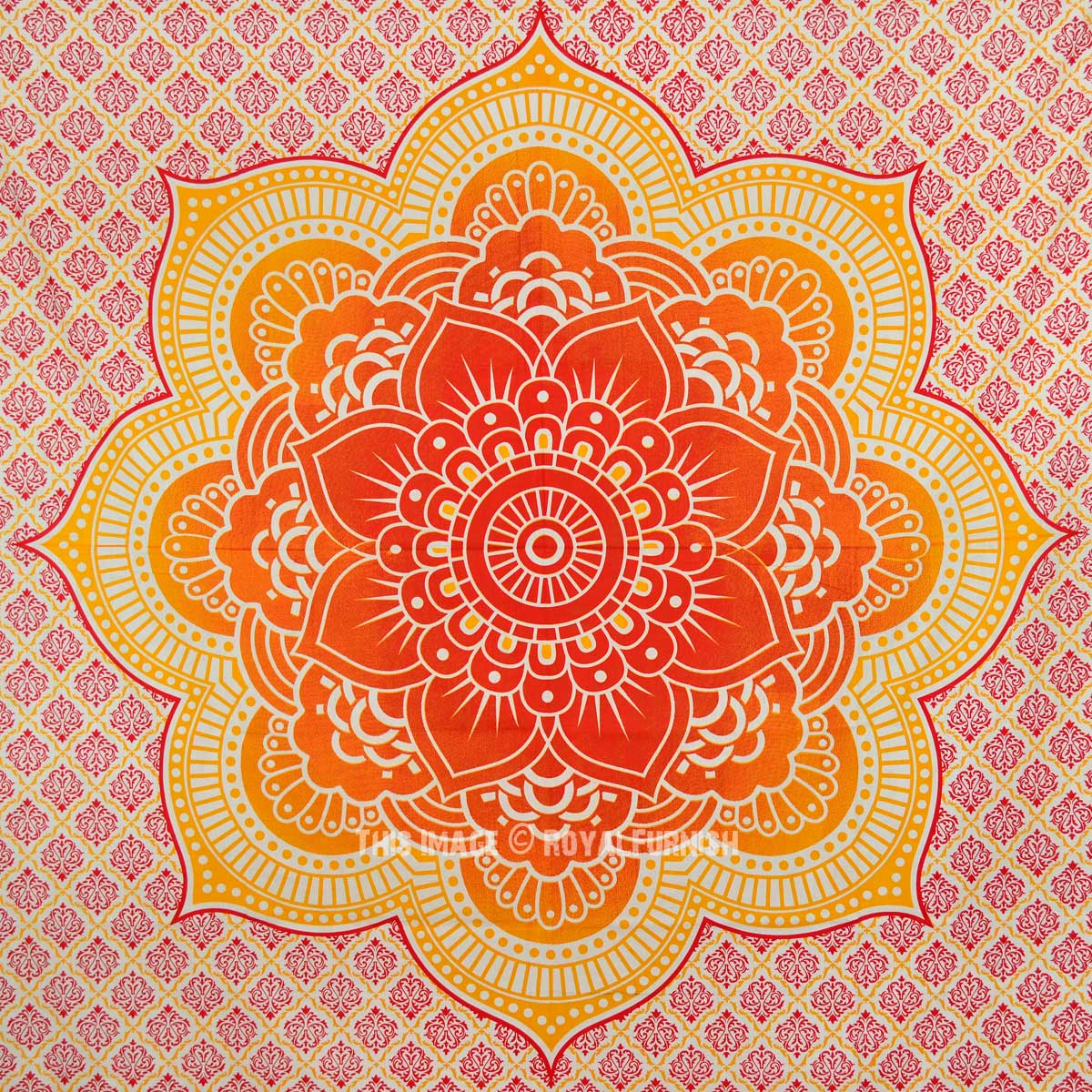 Orange Flower Of Life Ombre Medallion Tapestry Indian