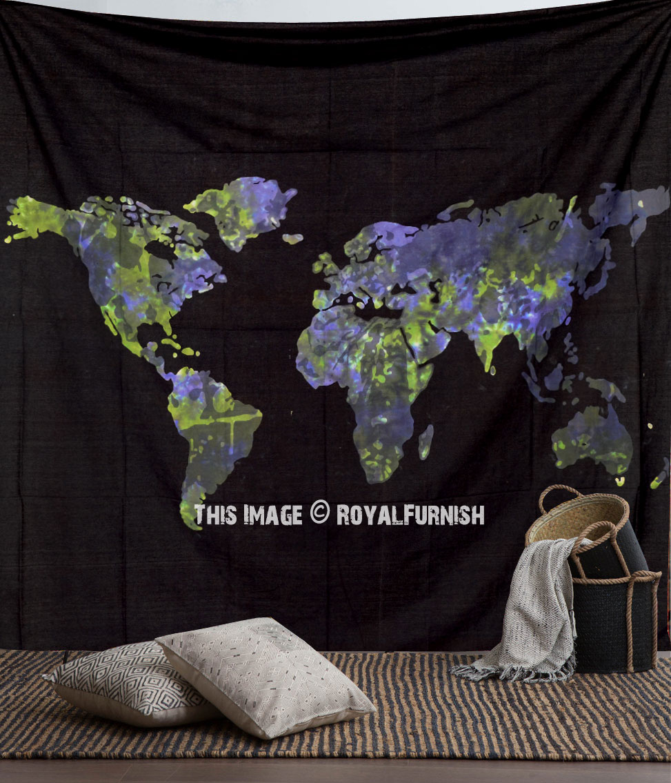 Black And White World Map Rug: Large Black And Blue Multi World Map Tapestry, Atlas