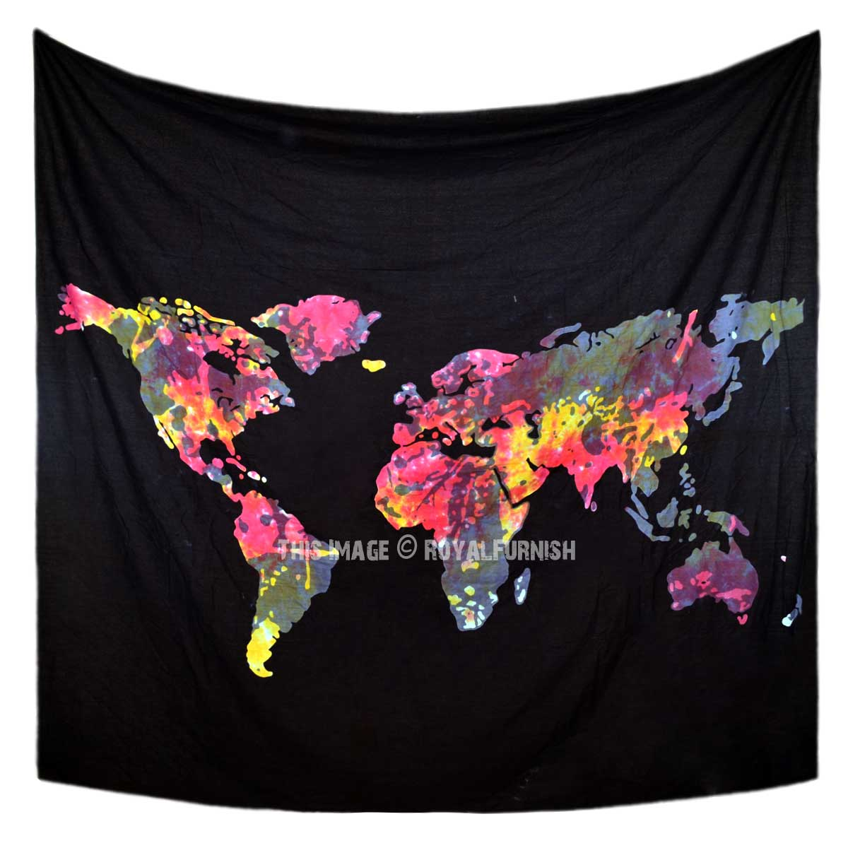 Map Tapestry With Lights