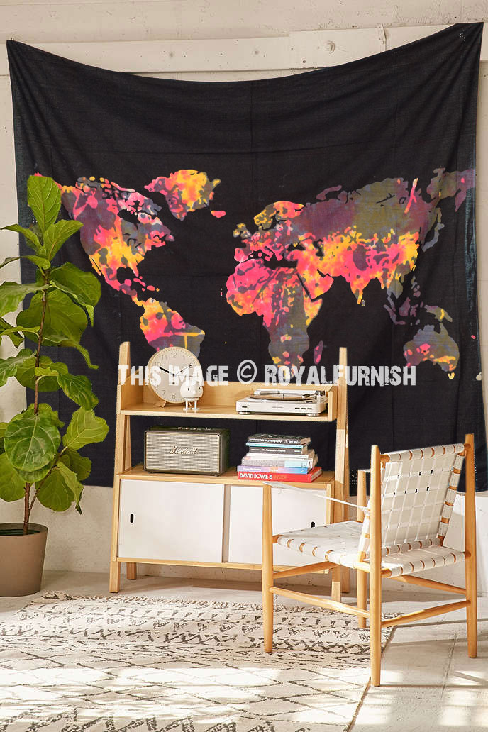 Black Multi Large Tie Dye World Map Tapestry Atlas Bed Cover
