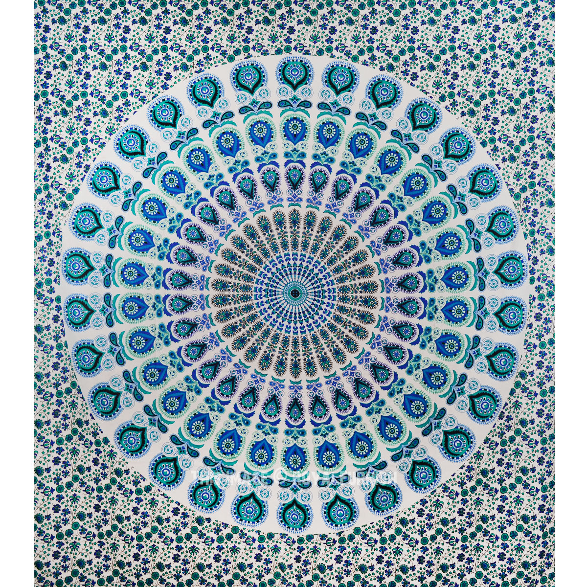Large White Colorful Floral Mandala Tapestry Indian