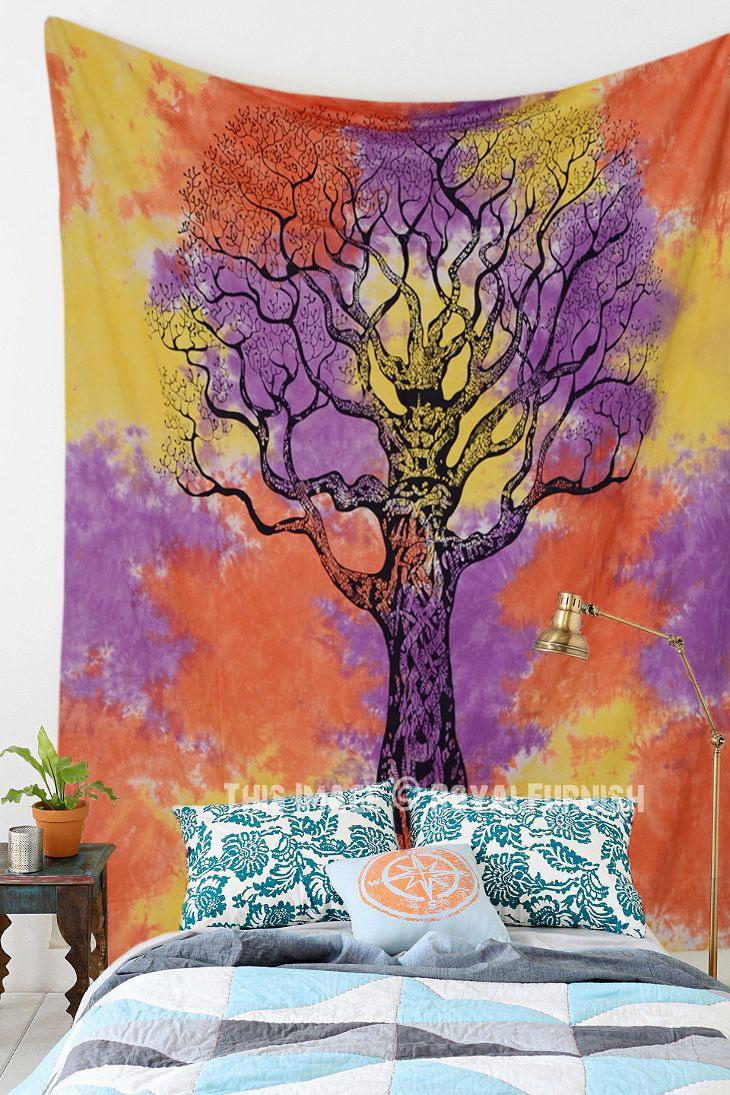 Orange Colorful Holi Tie Dye Desert Tree Of Life Tapestry