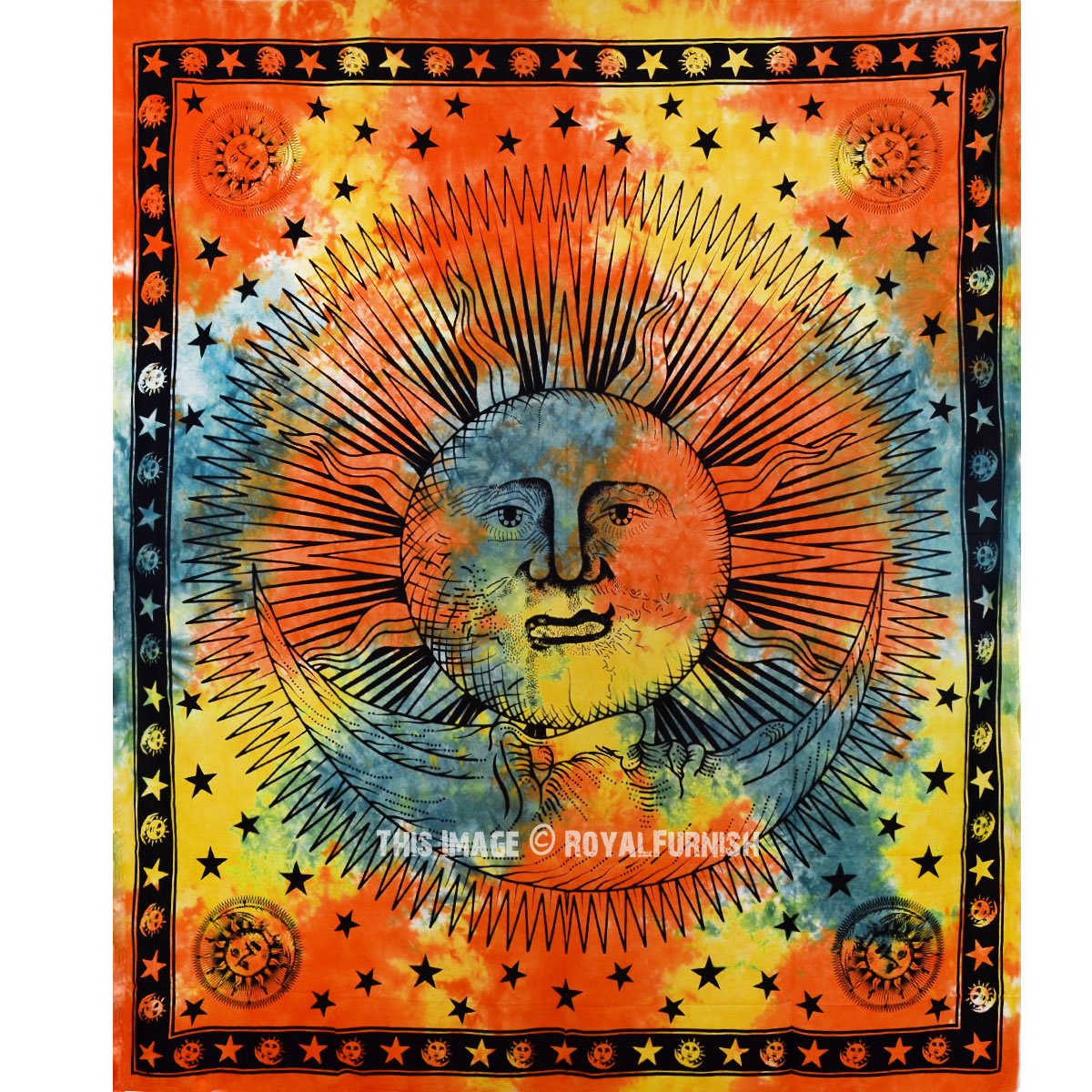 Orange And Green Psychedelic Sun Moon Tapestry Tie Dye