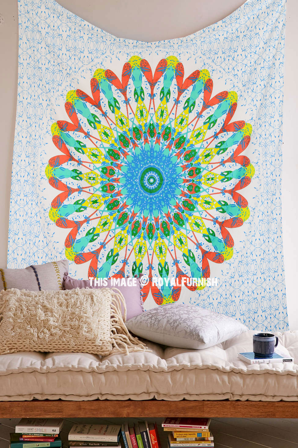 Large Orange Trippy Medallion Circle Mandala Tapestry Wall
