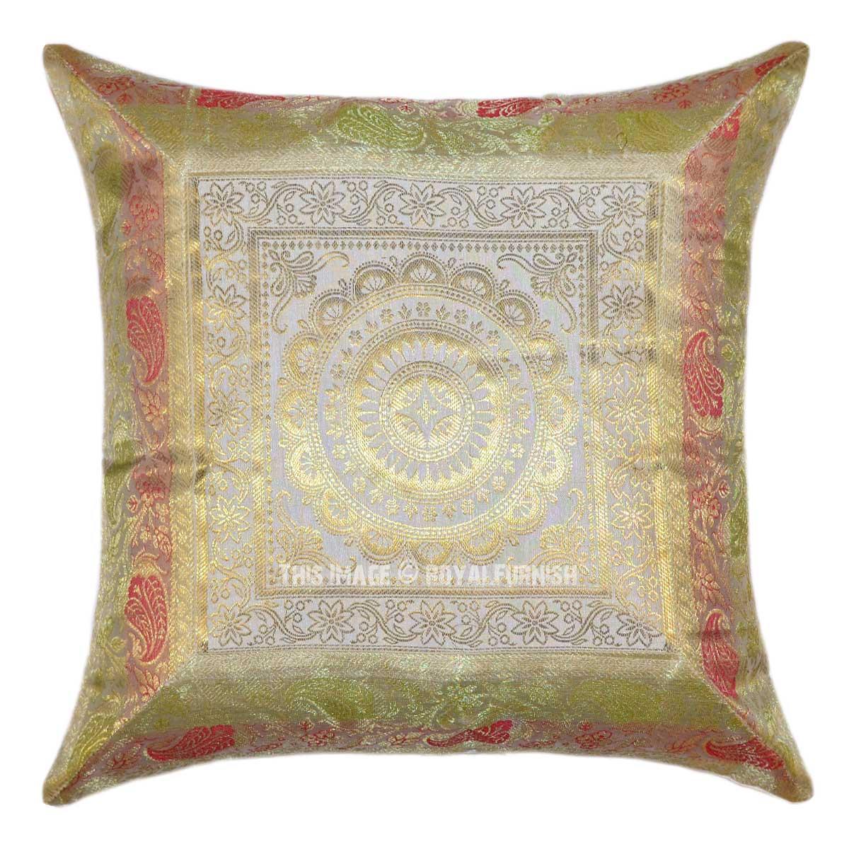 White Floral Medallion Mandala Circle Silk Throw Pillow