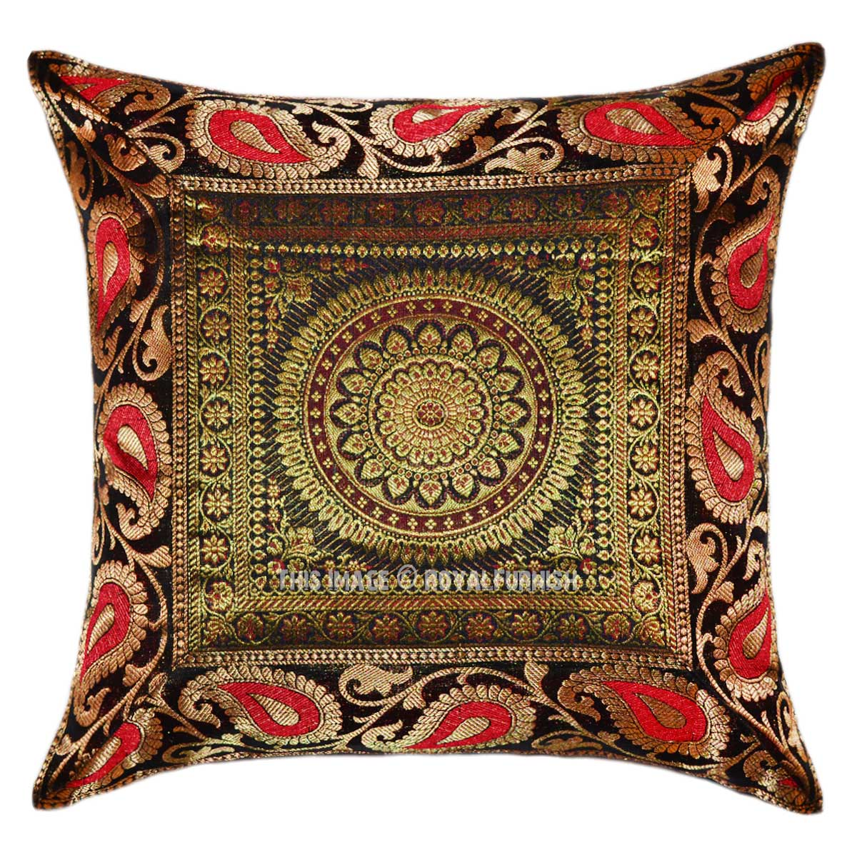 Black Floral Medallion Circle Silk Square Pillow Case