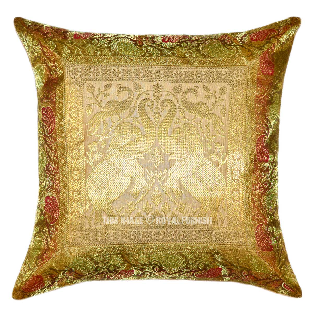 Gold Two Elephants and Peacocks Featuring Silk Throw Pillow Cover 16X16 - RoyalFurnish.com